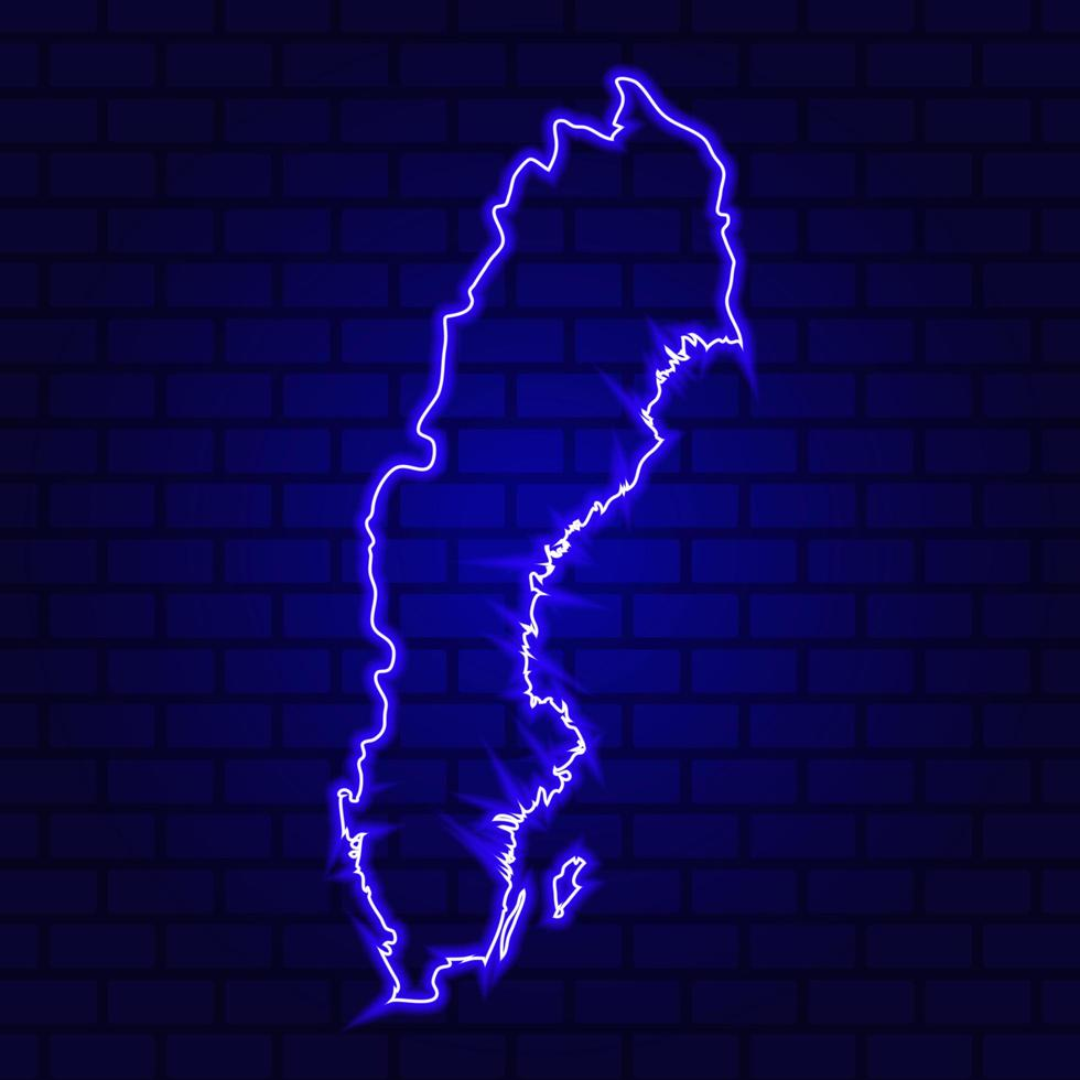 Sweden glowing neon sign on brick wall background photo