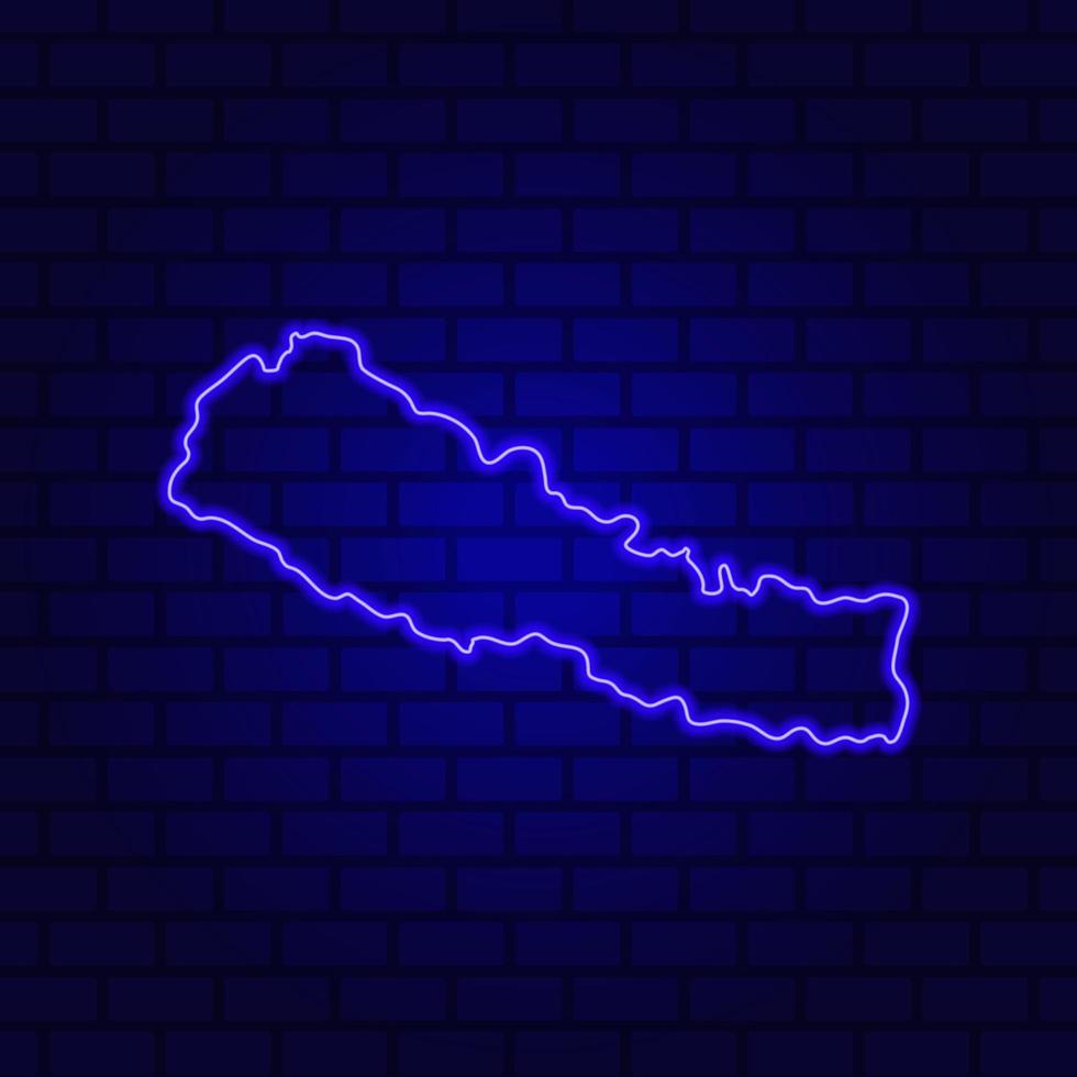 Nepal glowing neon sign on brick wall background photo