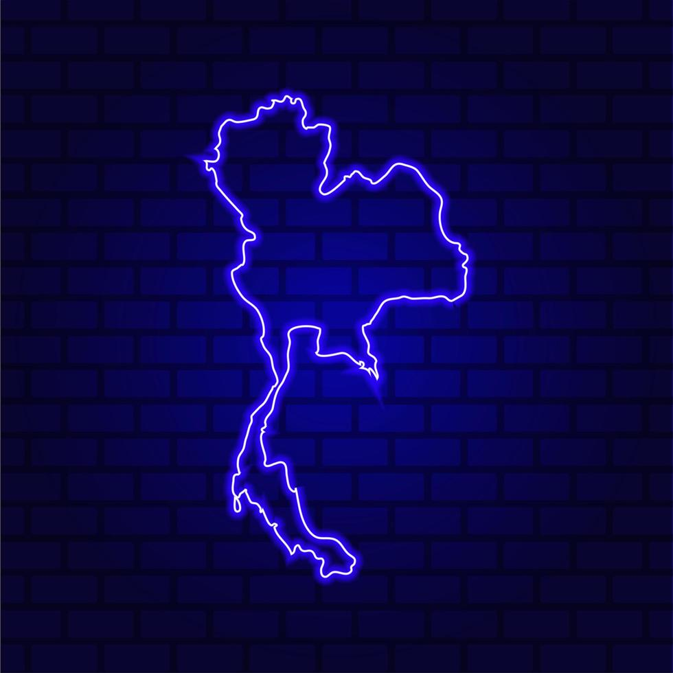 Thailand glowing neon sign on brick wall background photo