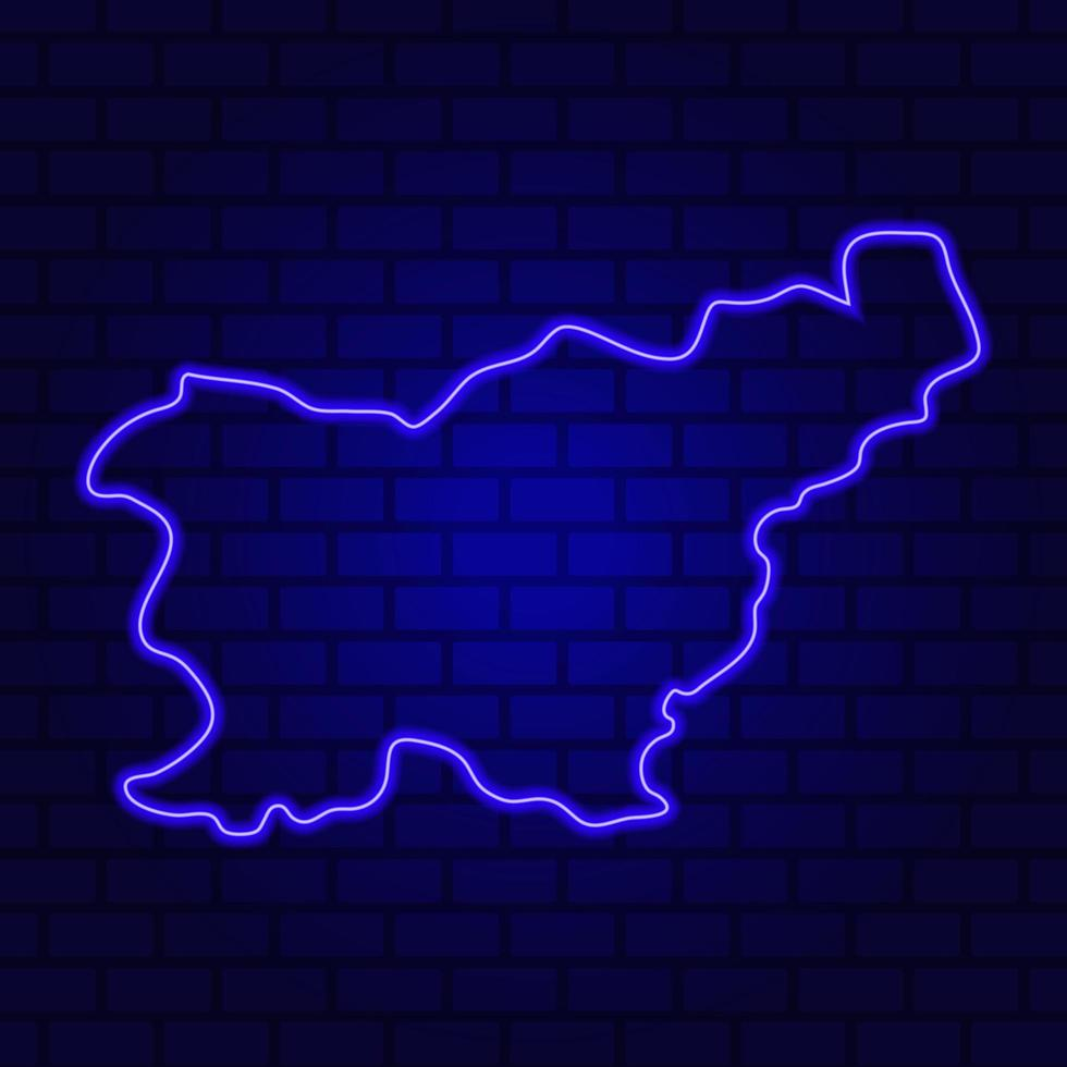 Slovenia glowing neon sign on brick wall background photo
