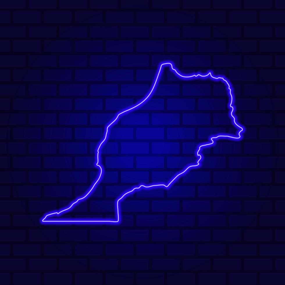 Morocco glowing neon sign on brick wall background photo