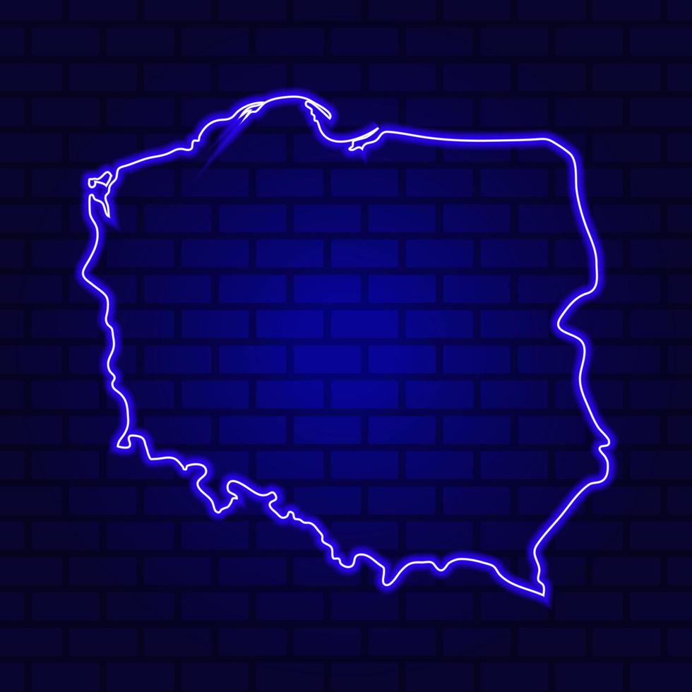 Poland glowing neon sign on brick wall background photo