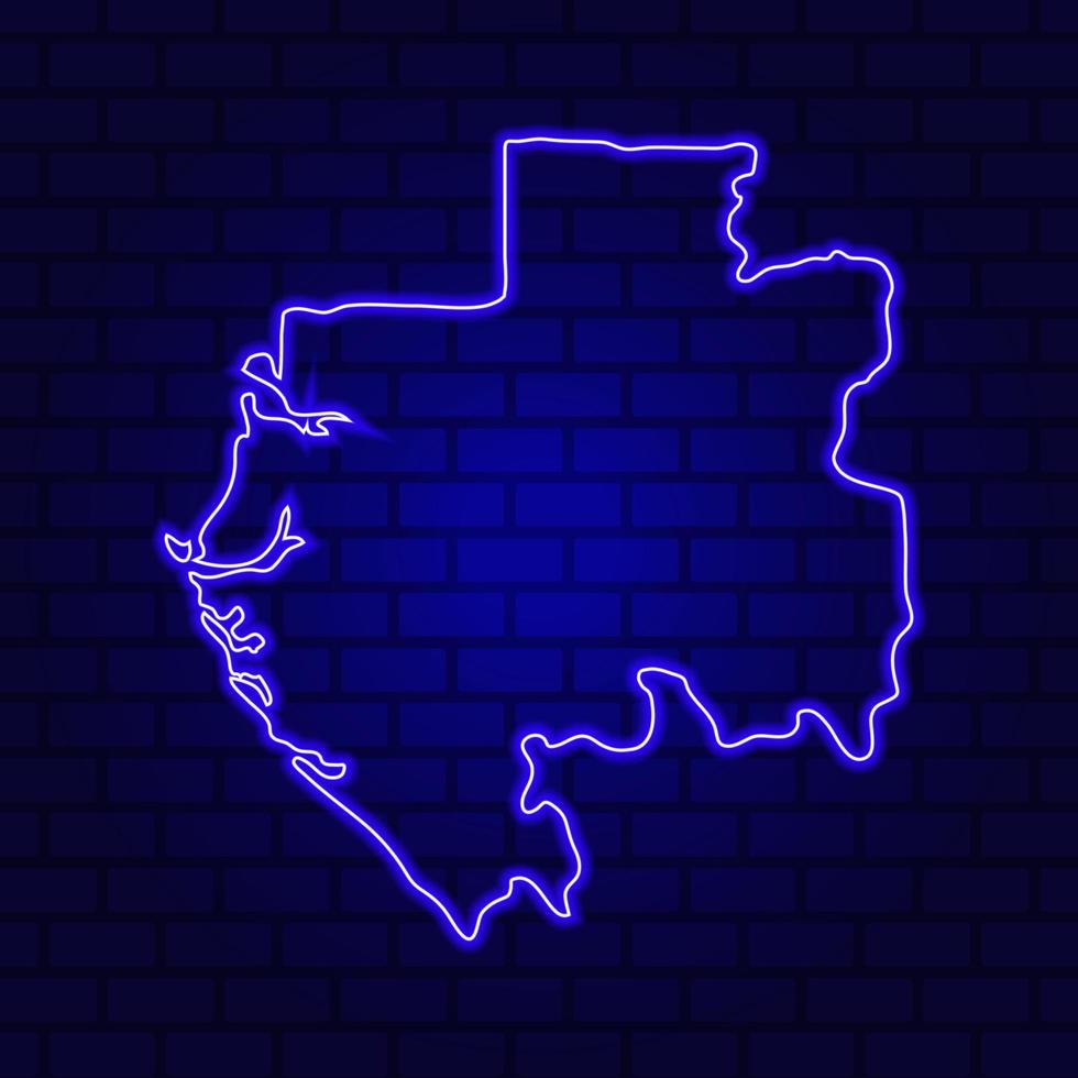 Gabon glowing neon sign on brick wall background photo
