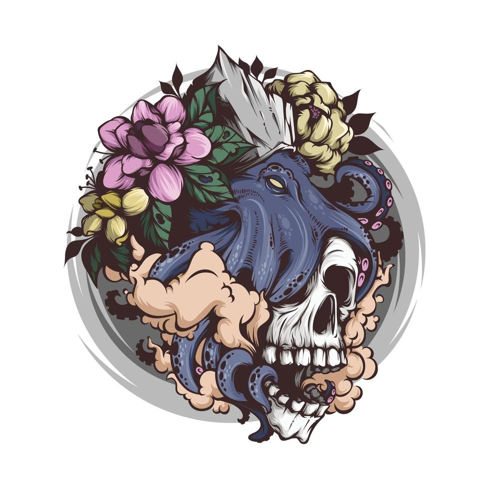 Skull head with octopus illustration vector