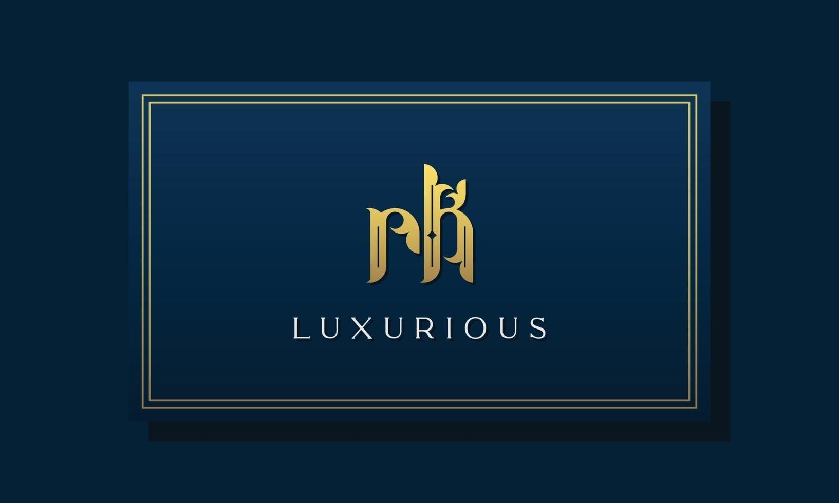 Vintage royal initial letters RK logo. vector