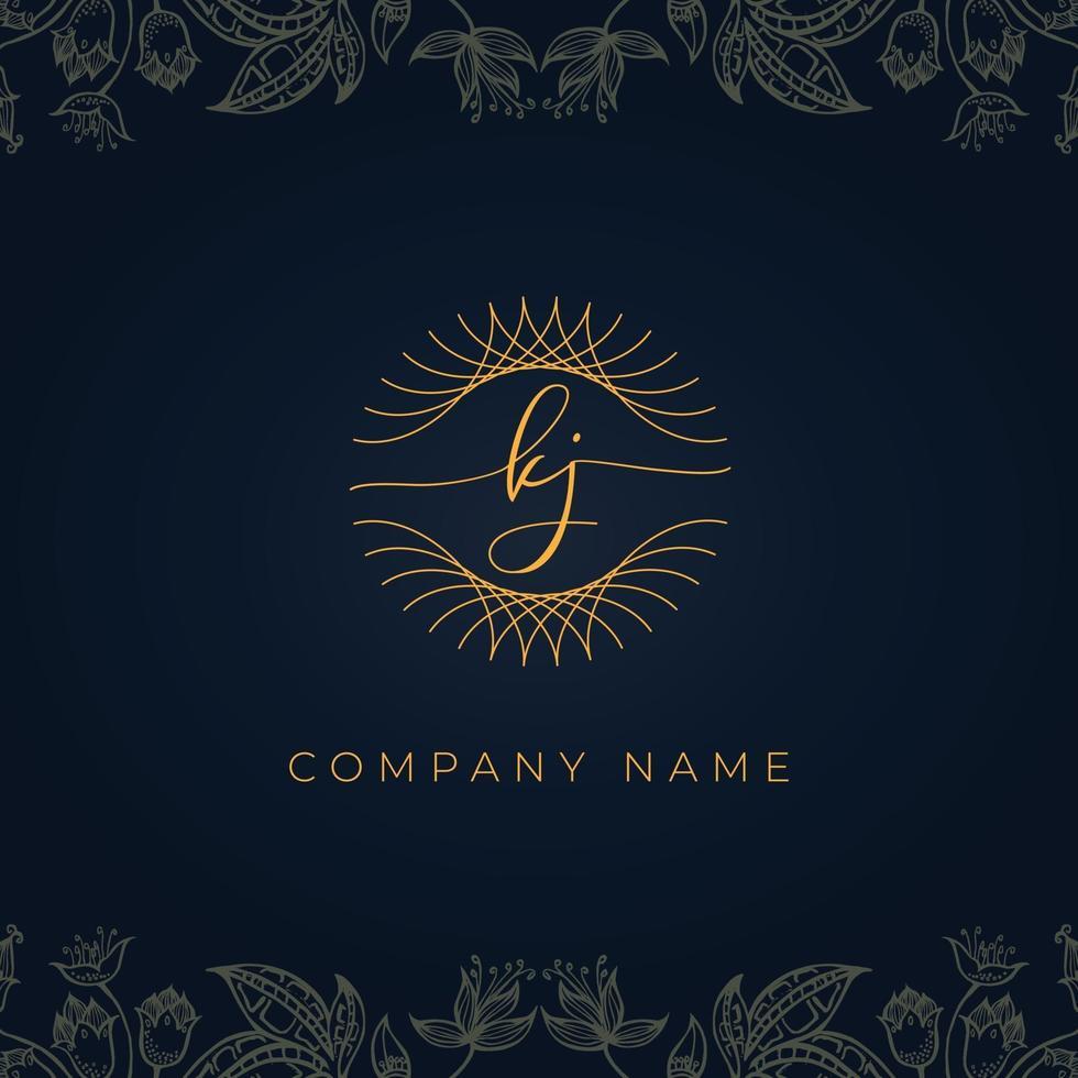 Elegant luxury letter KJ logo. vector