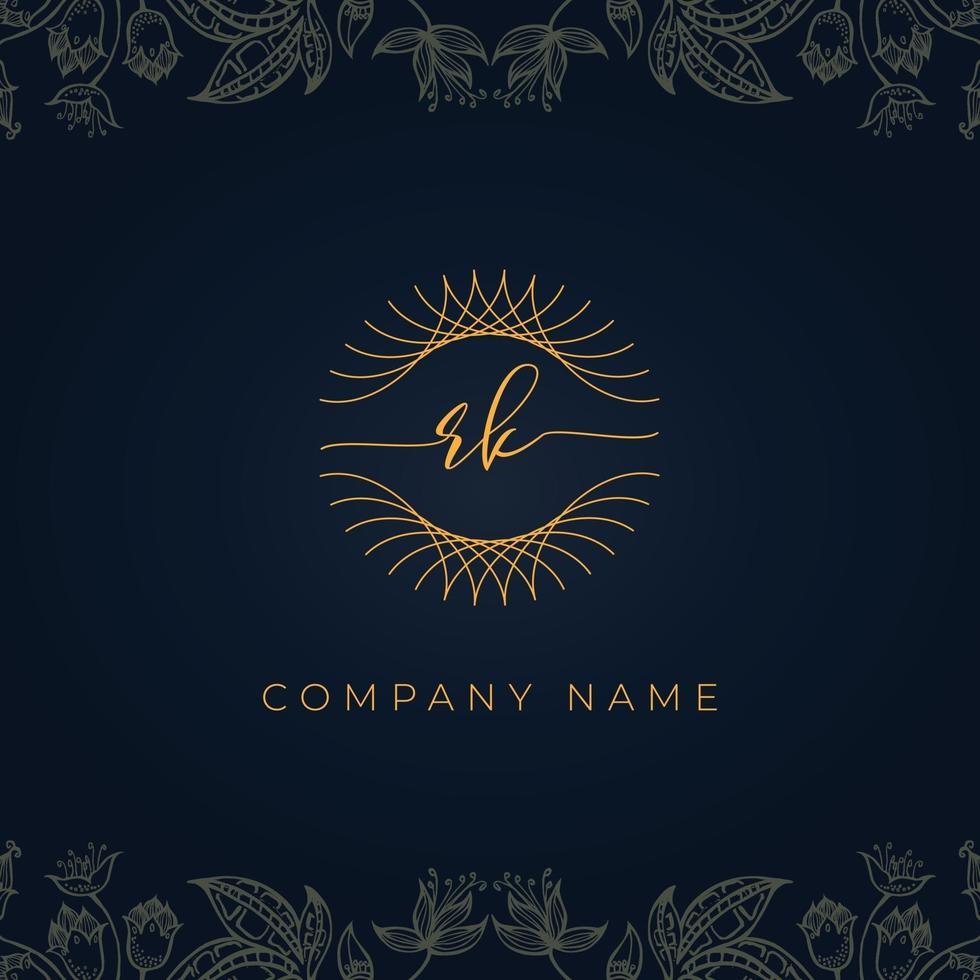 Elegant luxury letter RK logo. vector