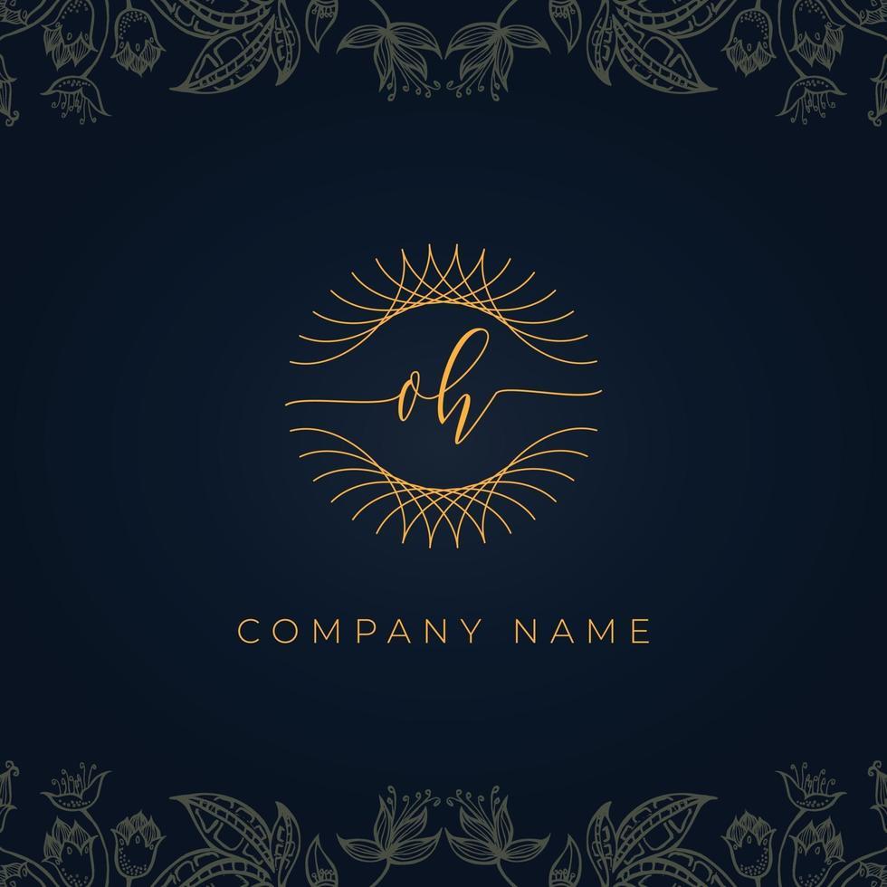 Elegant luxury letter OH logo. vector