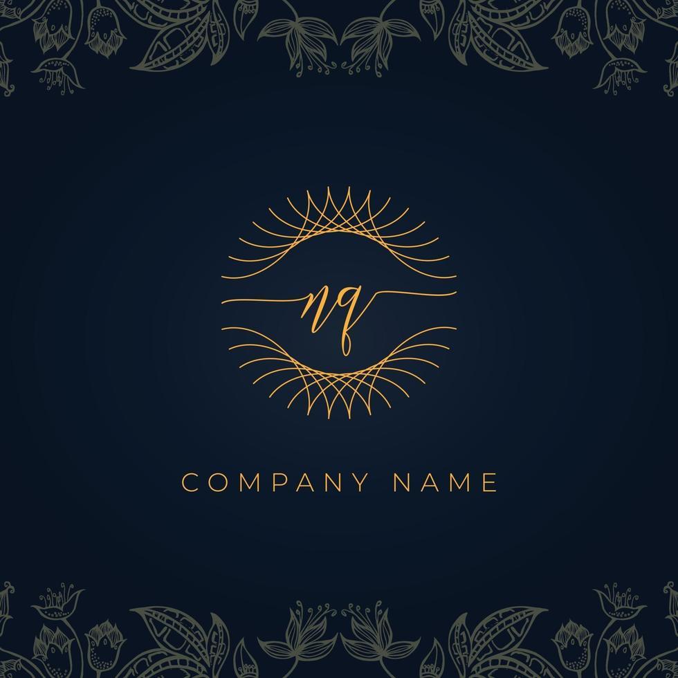 Elegant luxury letter NQ logo. vector