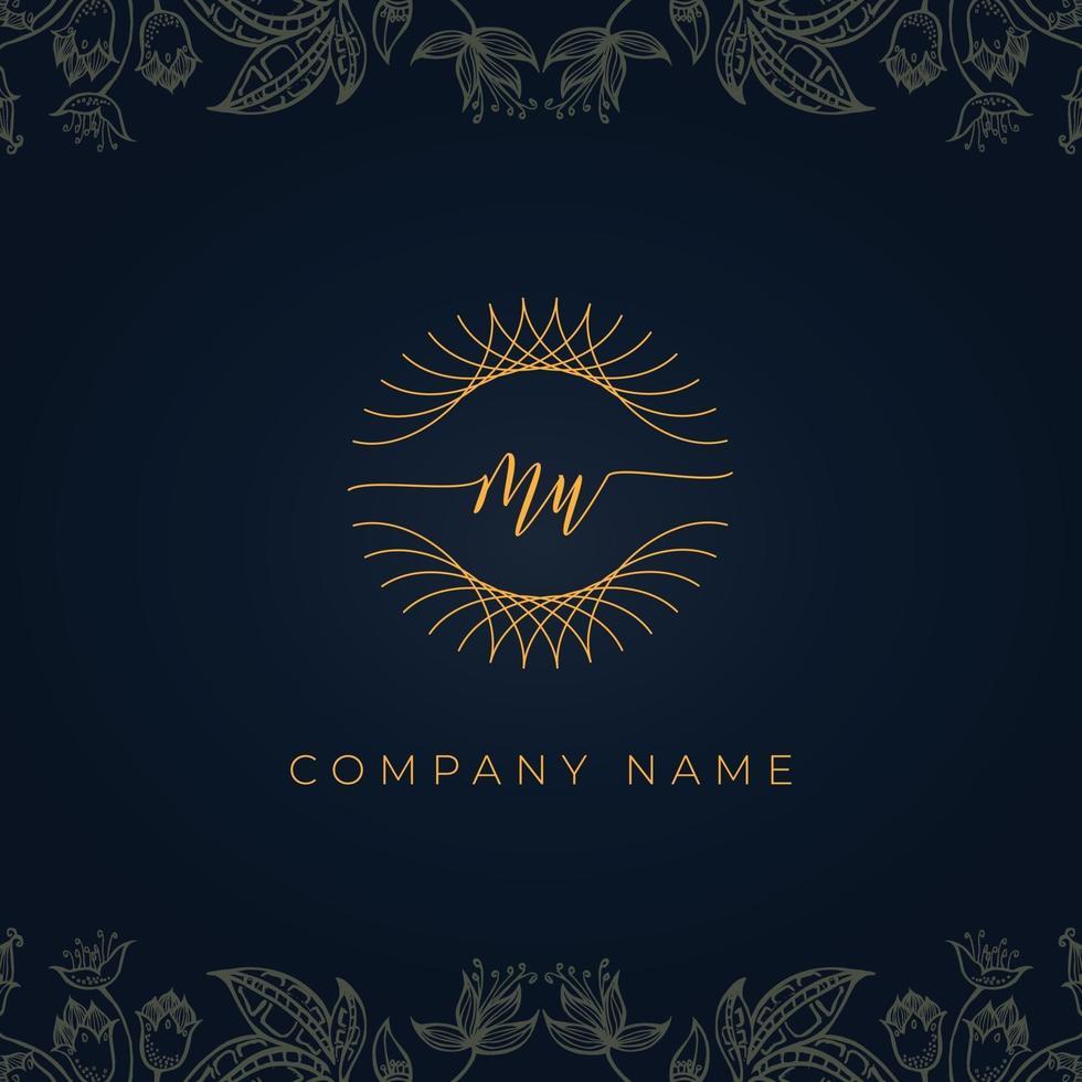 Elegant luxury letter MU logo. vector