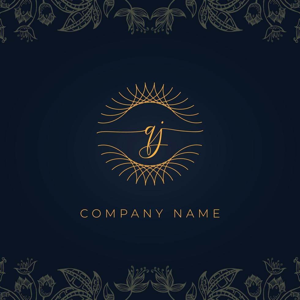 Elegant luxury letter QJ logo. vector