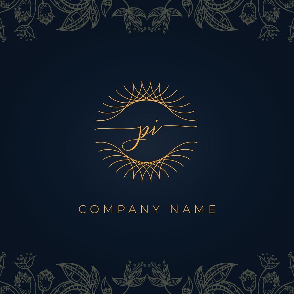 Elegant luxury letter PI logo. vector