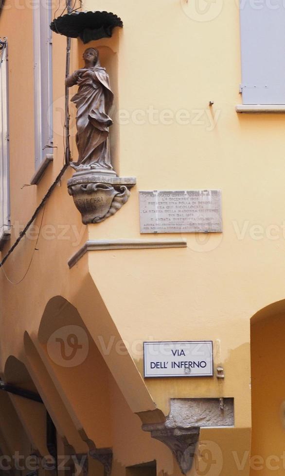 Via dell Inferno Hell Street in Bologna photo