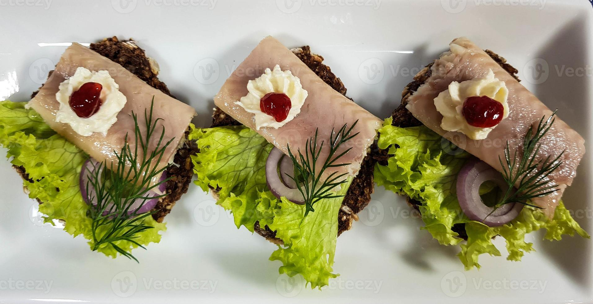 Smoked fish different canapes photo