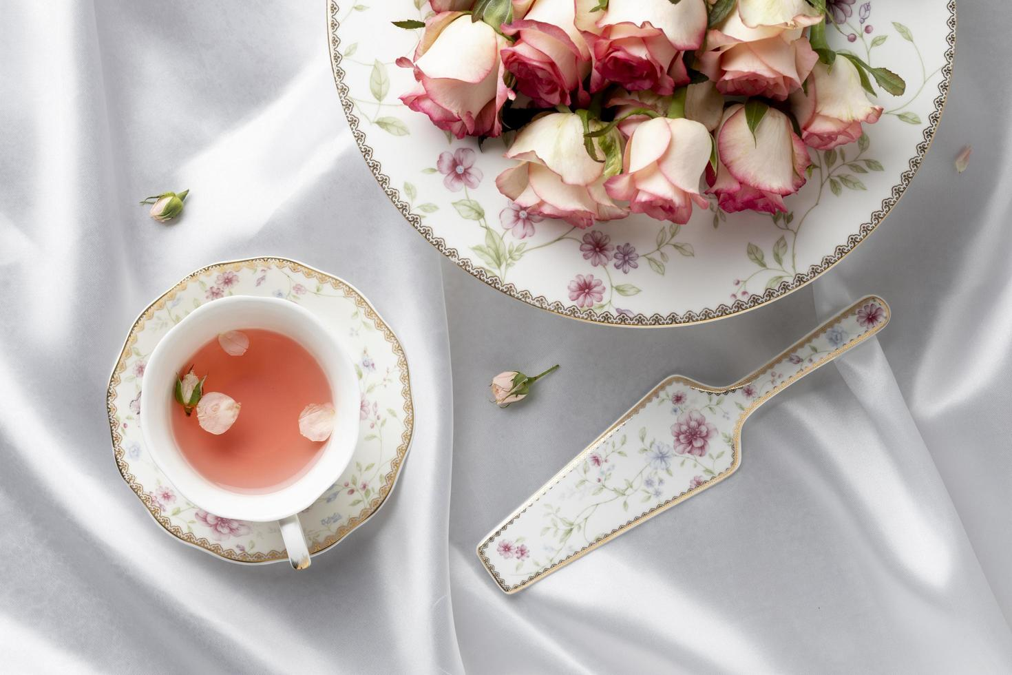 Beautiful tea party composition table photo
