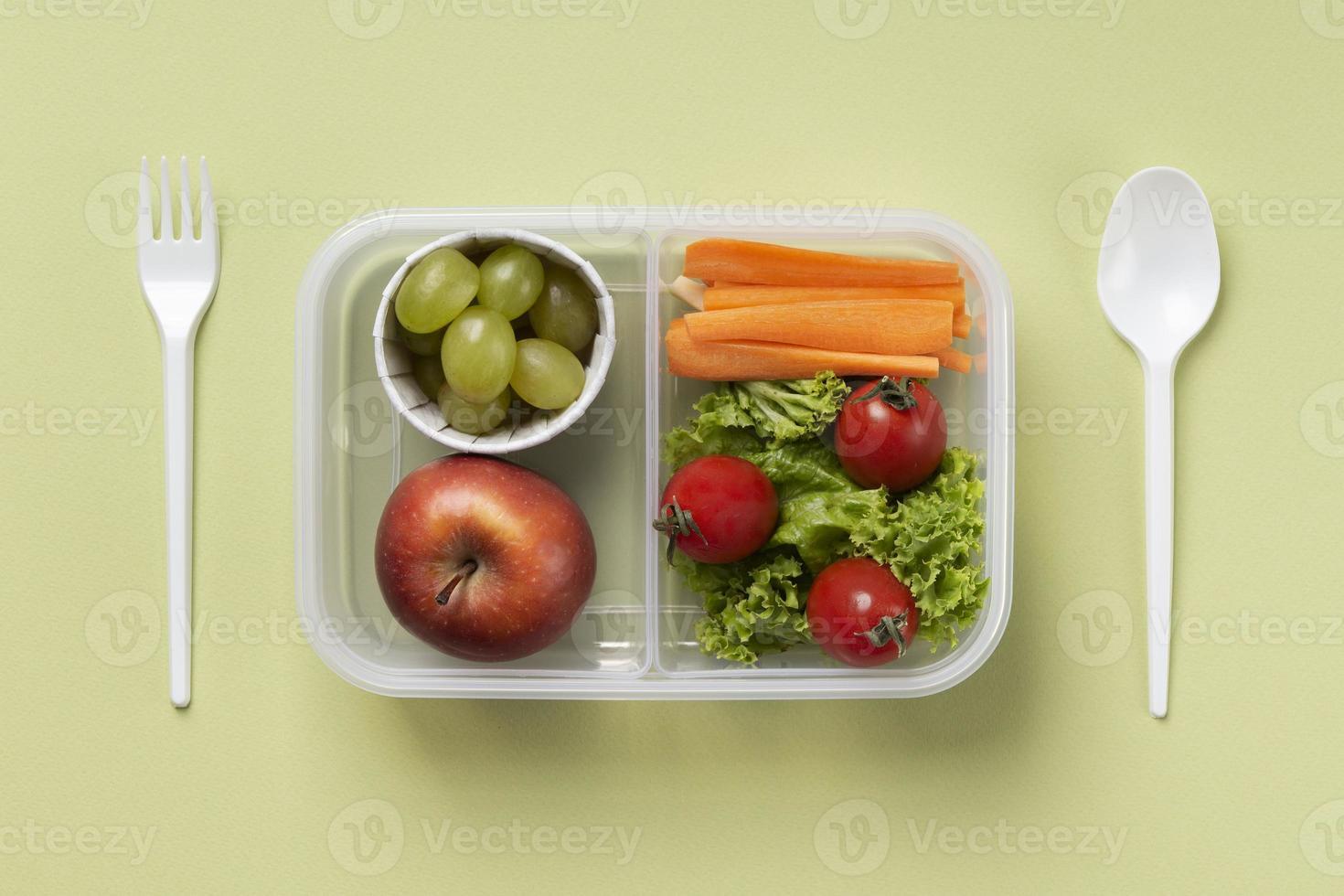 Healthy food boxes arrangement top view photo