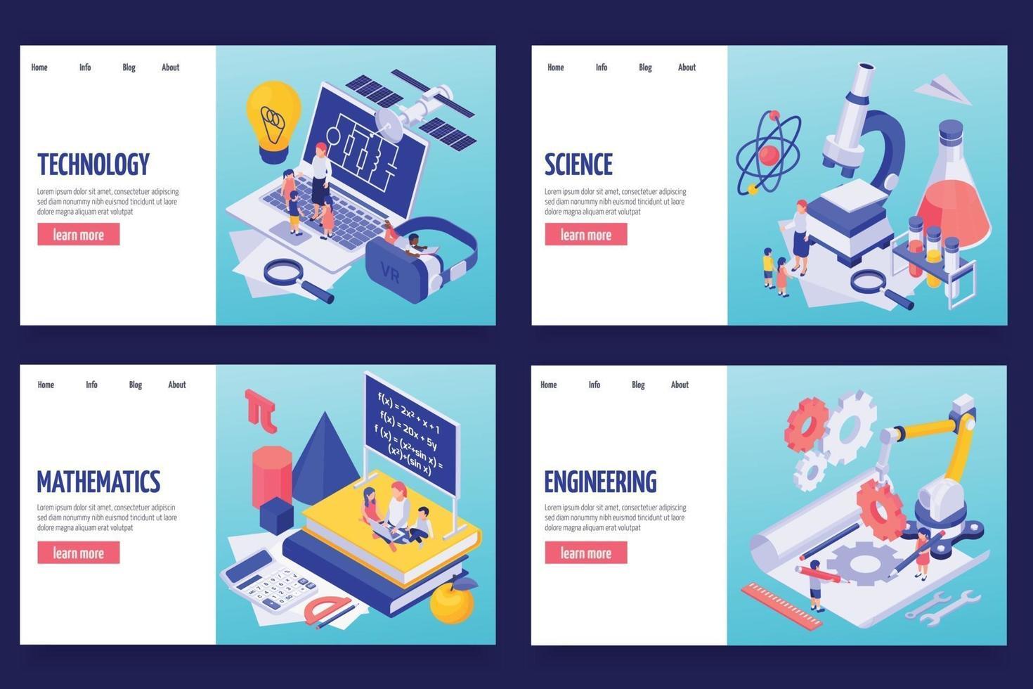 STEM Education Horizontal Banners vector