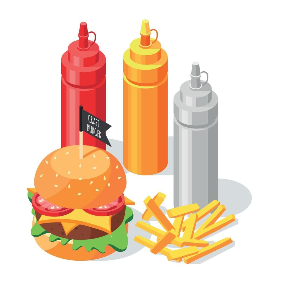 Burger Sauce Isometric Composition vector