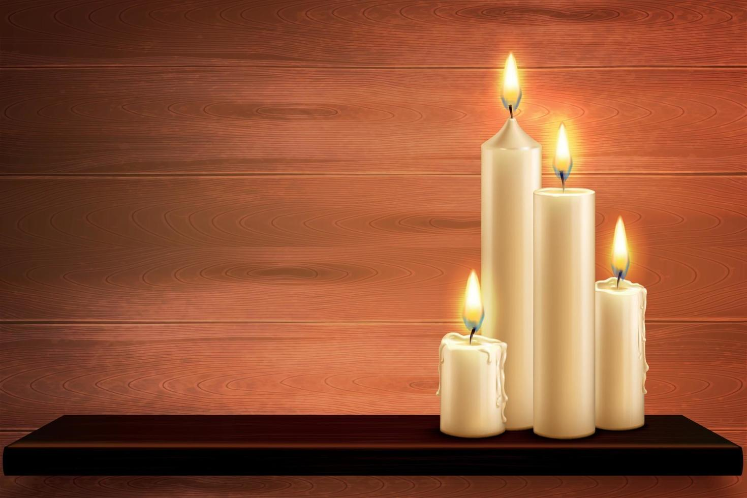 Candles On Table Background vector