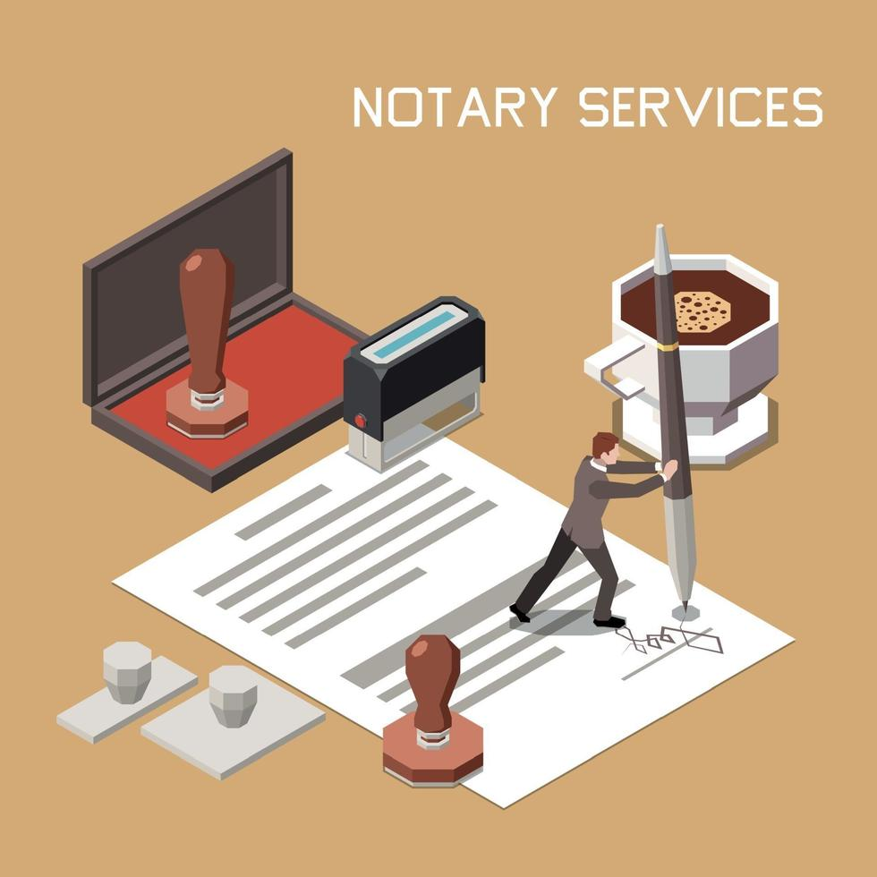 Notary Services Isometric Design Concept vector