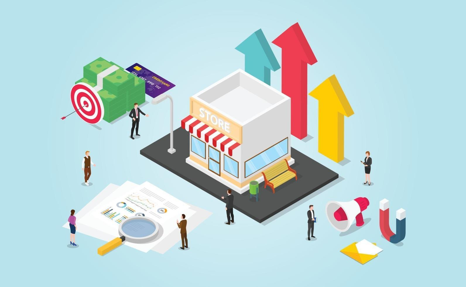 small business growth development with finance report vector