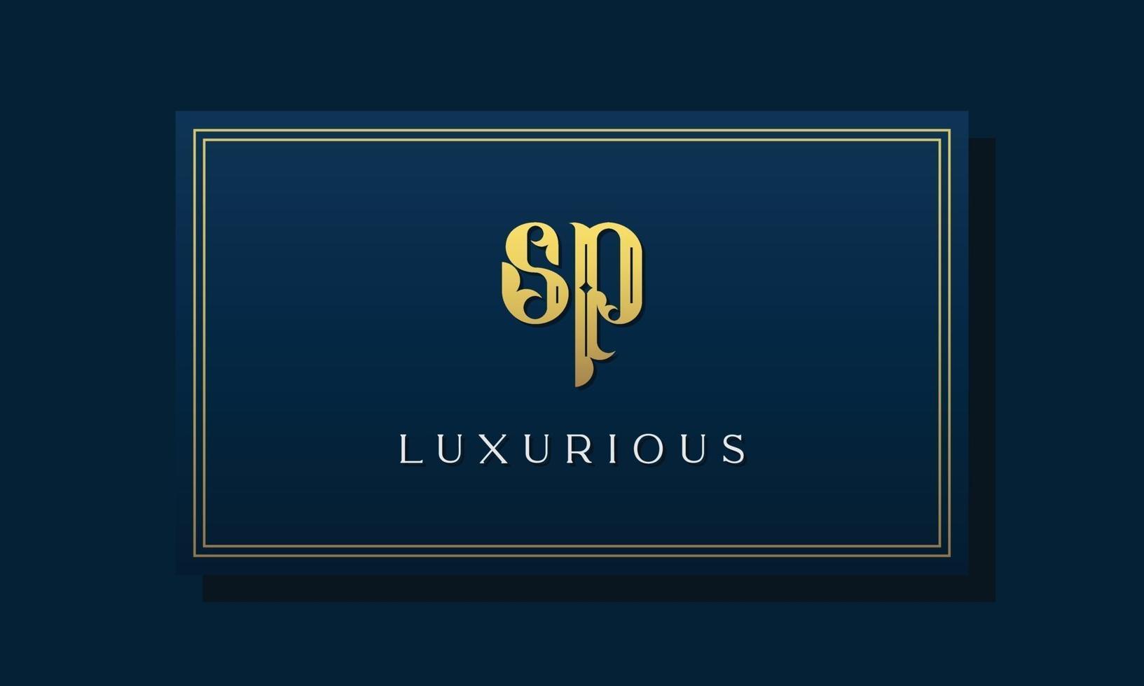 Vintage royal initial letters SP logo. vector