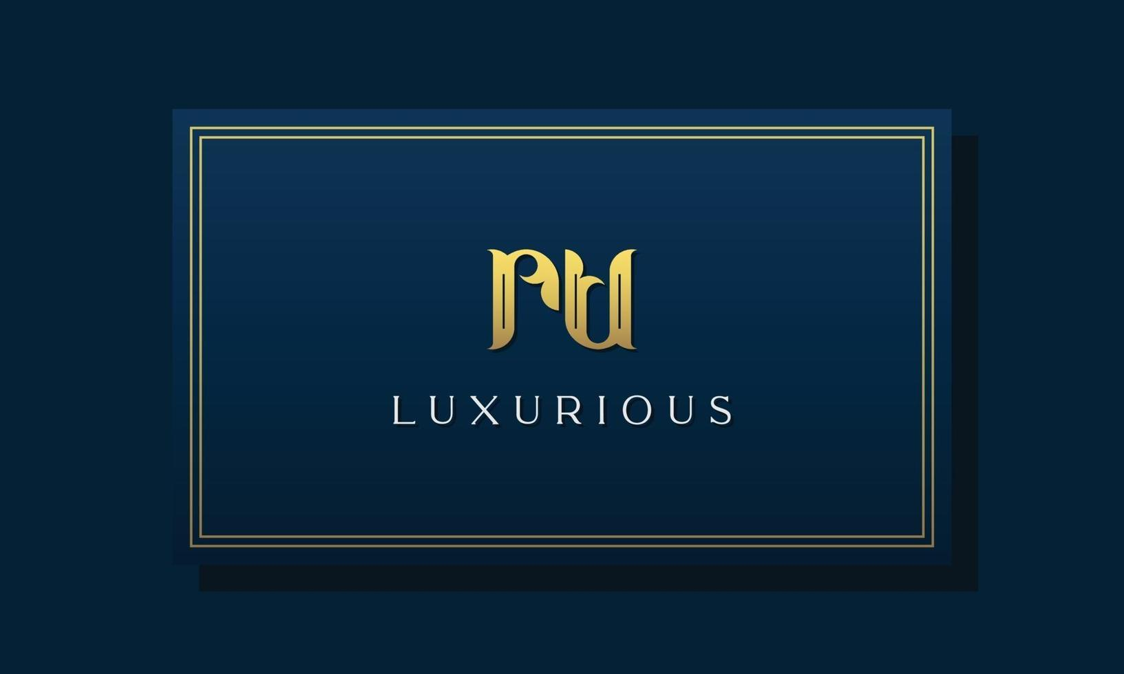 Vintage royal initial letters RU logo. vector
