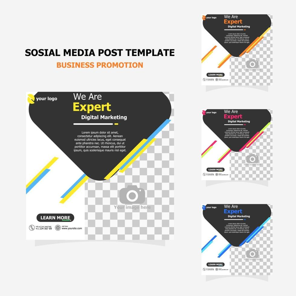 social media post template set for your business style three vector