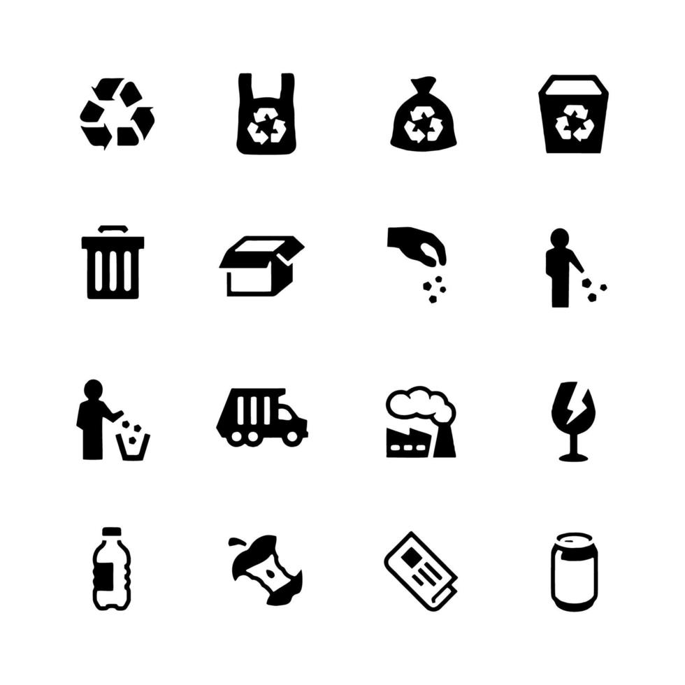 Simple Set of Garbage Related Vector Icons.