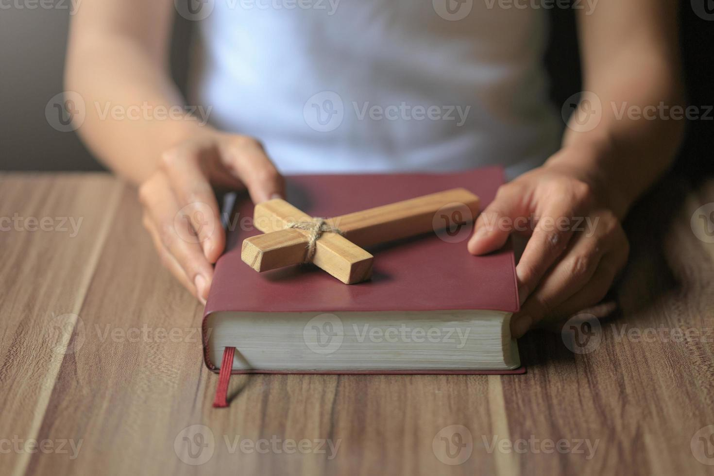 Religious young woman praying to God in the morning, photo
