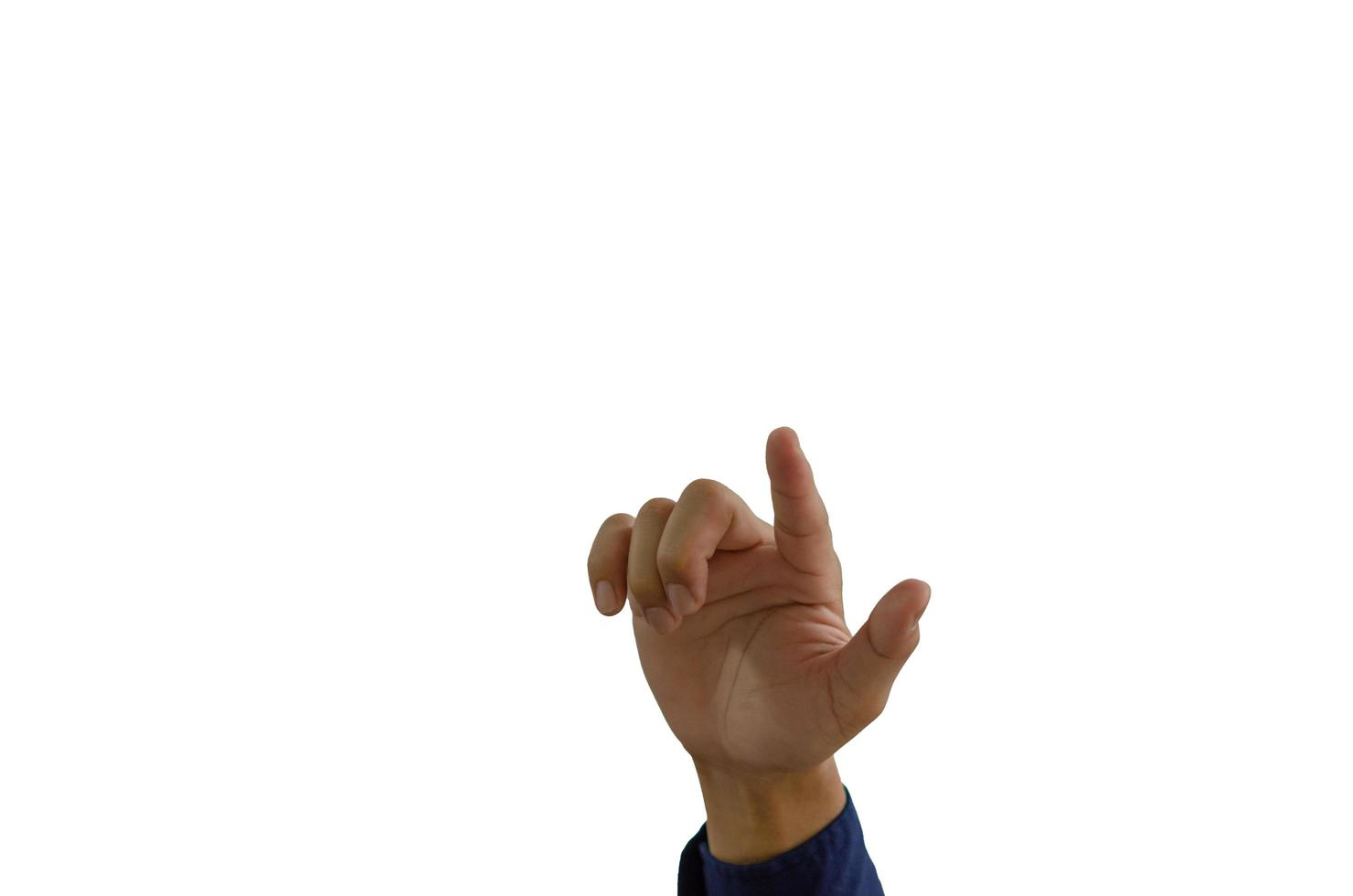 hombre señalando con la mano sobre un fondo blanco foto