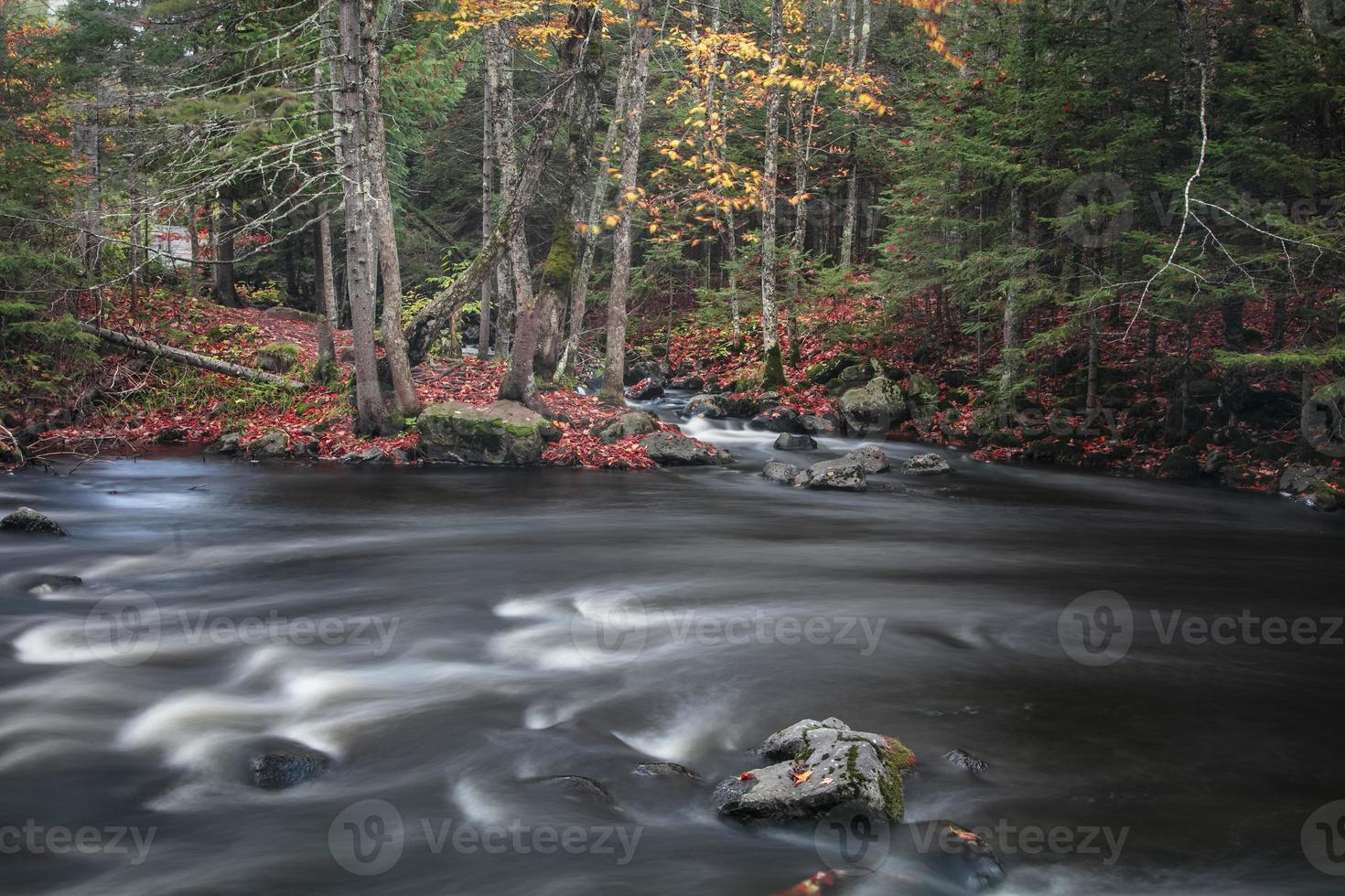 Agua corriente en la rama media del río ontonagon en Michigan foto