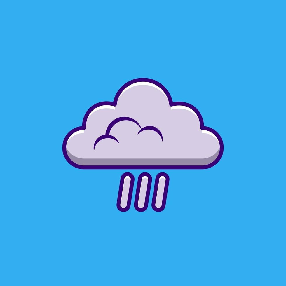 Cloudy sky and rain icon or logo isolated vector