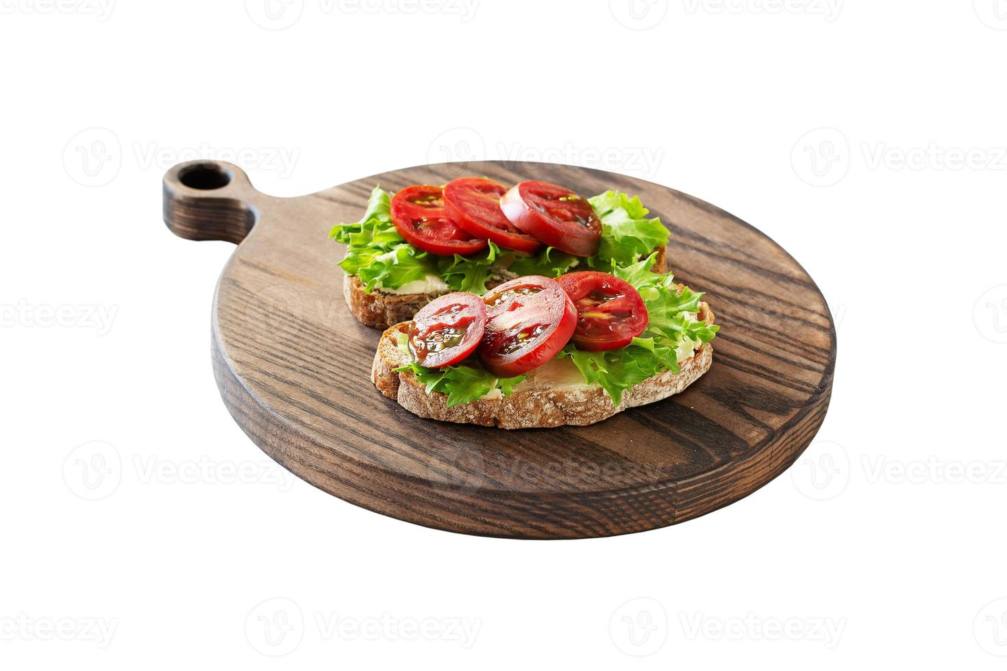 Two sandwiches with soft cottage cheese photo