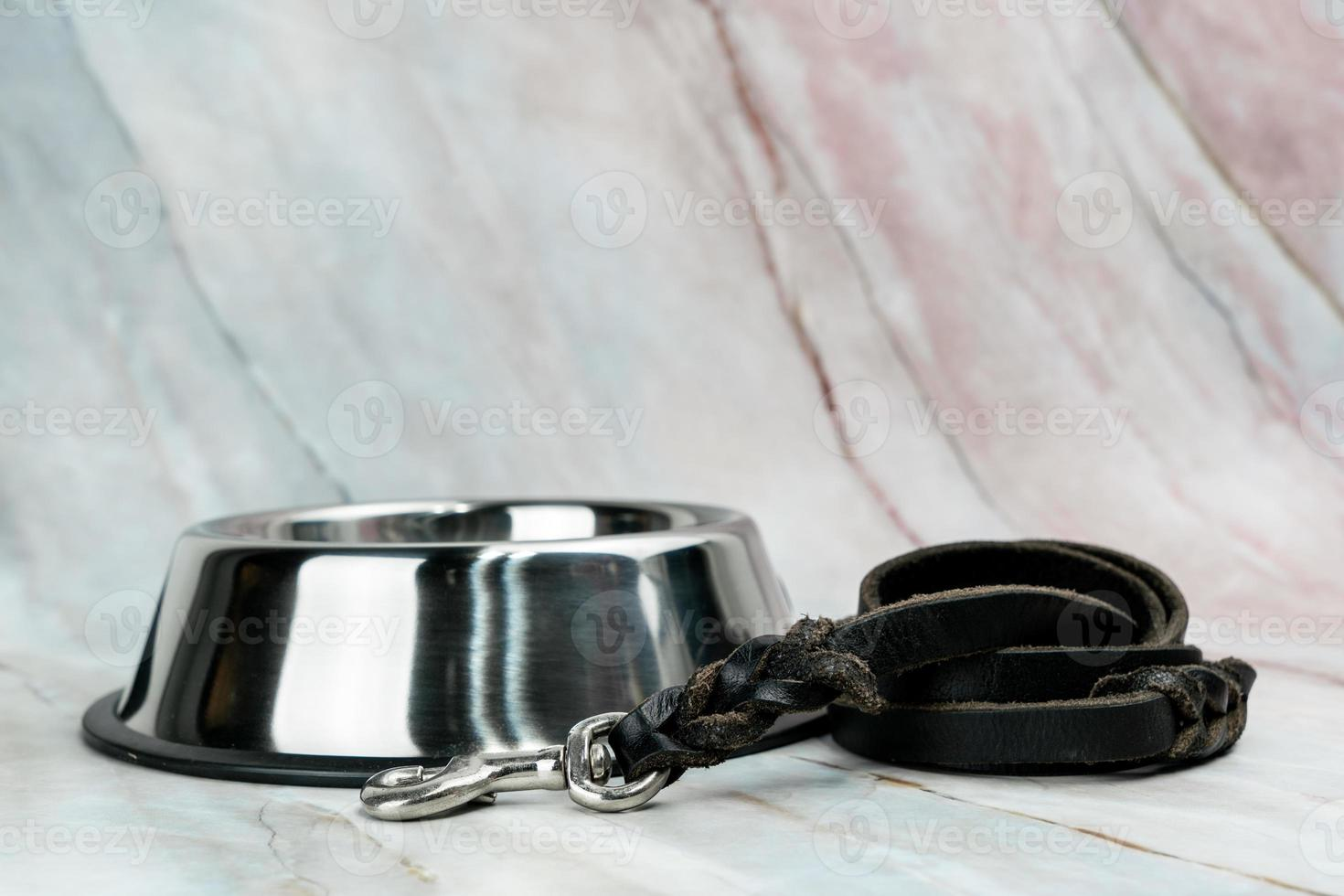 Bowl with leashes for dog or cat.   Pet accessories concept. photo