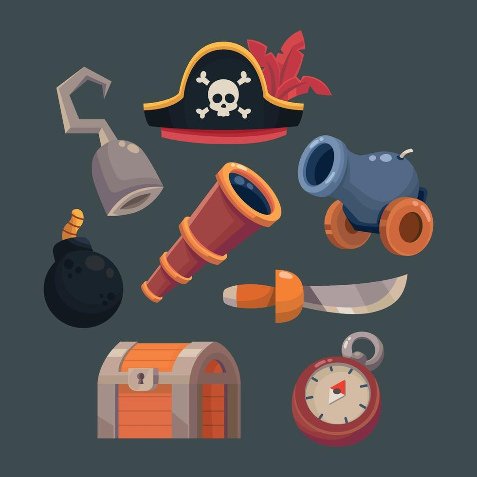 Set of Pirates Cartoon Icon vector