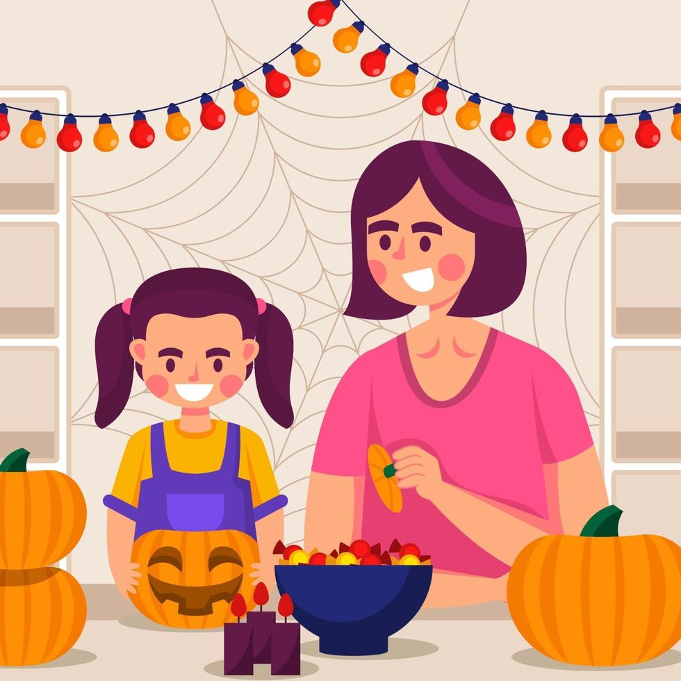 Mom and Daughter Preparing Halloween Decoration Together vector