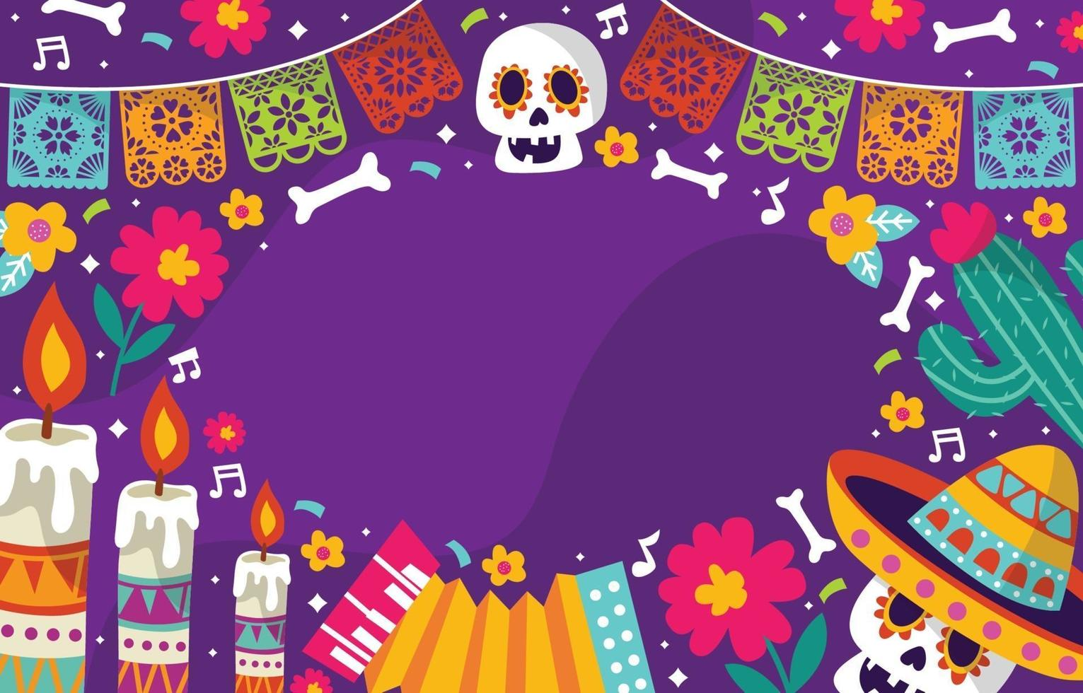 Dia De Los Muertos Colorful Doodle Background vector