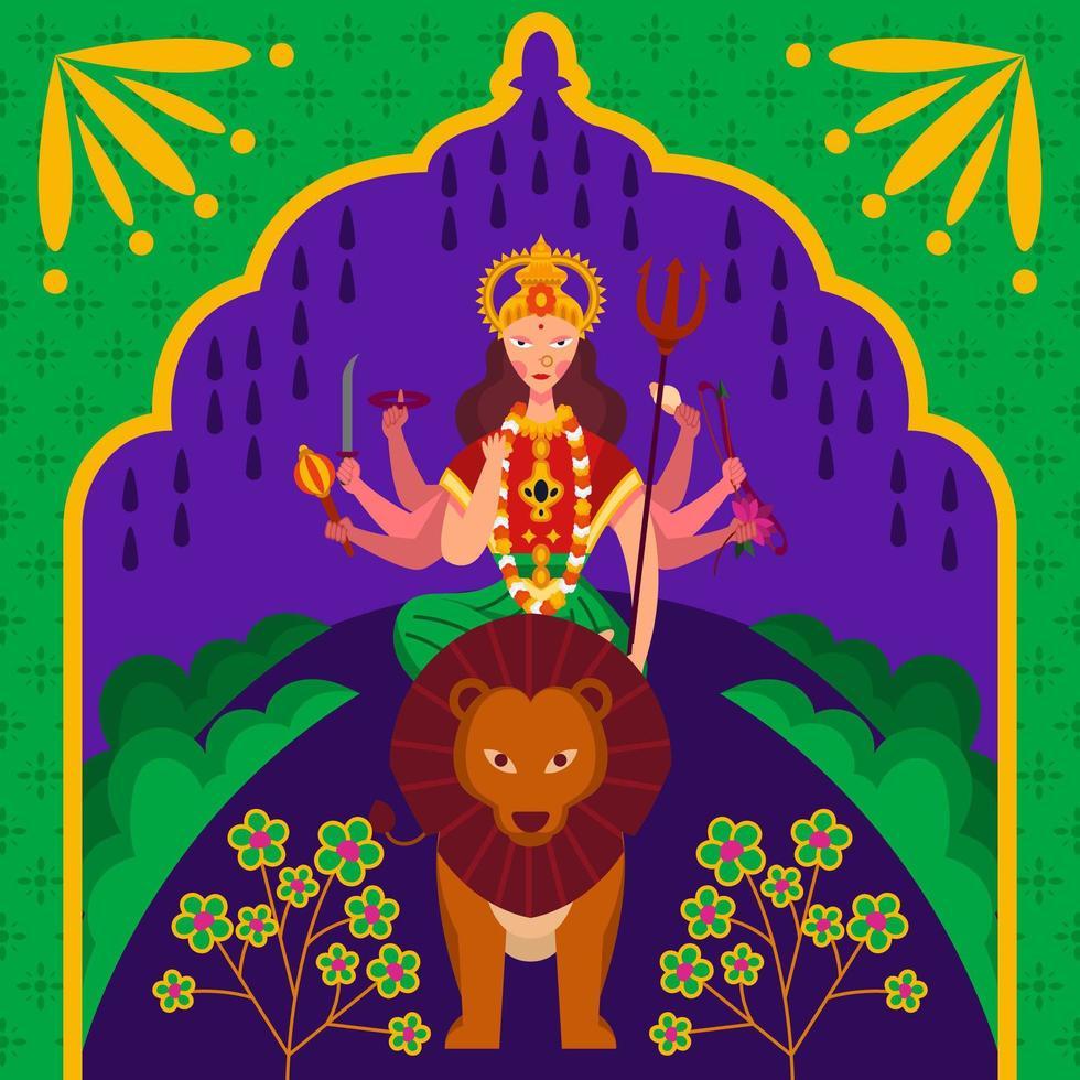 Goddess Durga Prevailing Against Evil vector