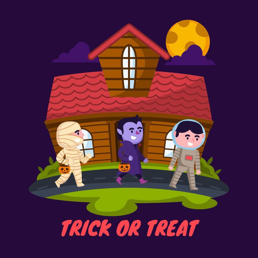 Trick or Treating on Halloween Night vector