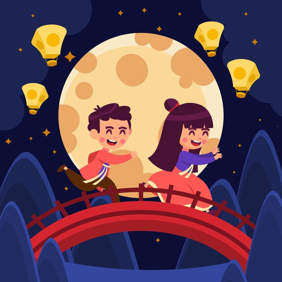 Couple of Children Playing during Mid Autumn Festival vector