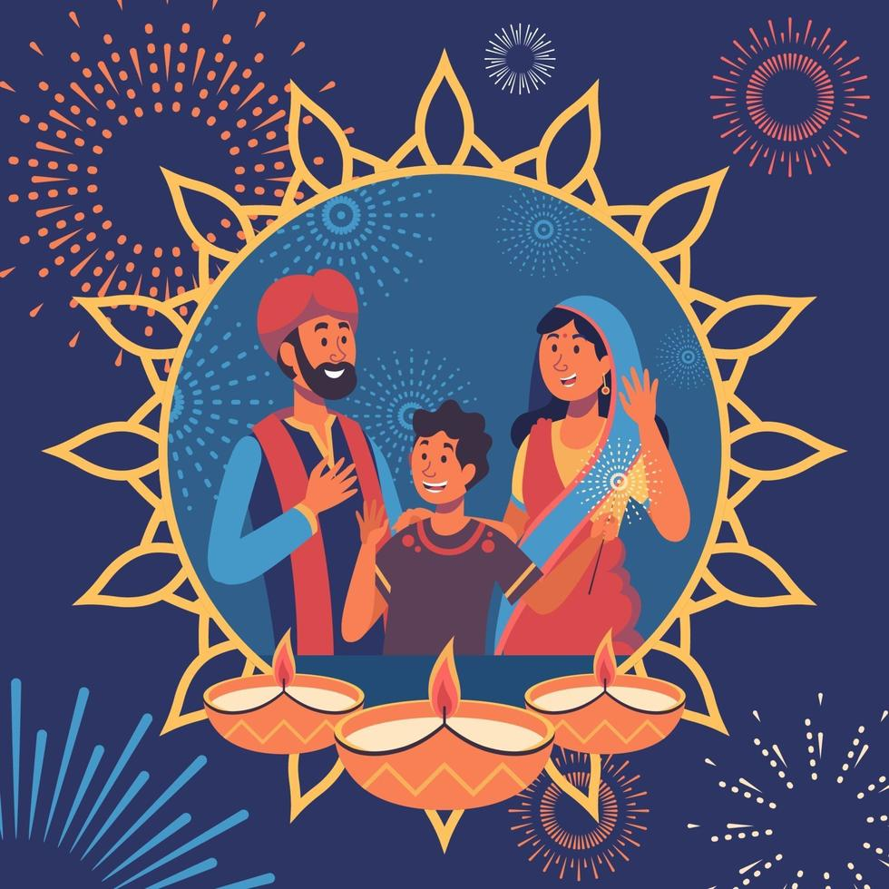 Indian Family Characters Greeting to Celebrate Diwali Festival vector