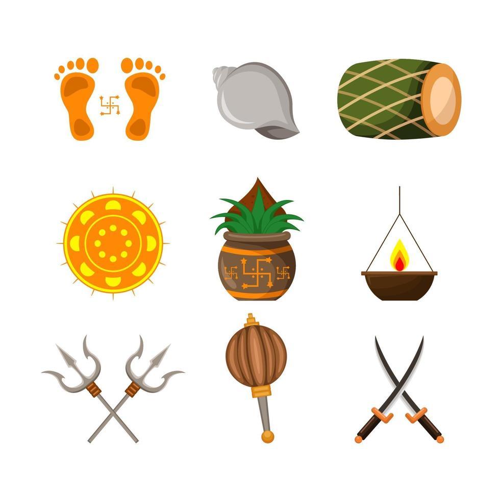 Navratri Icon Set Element vector