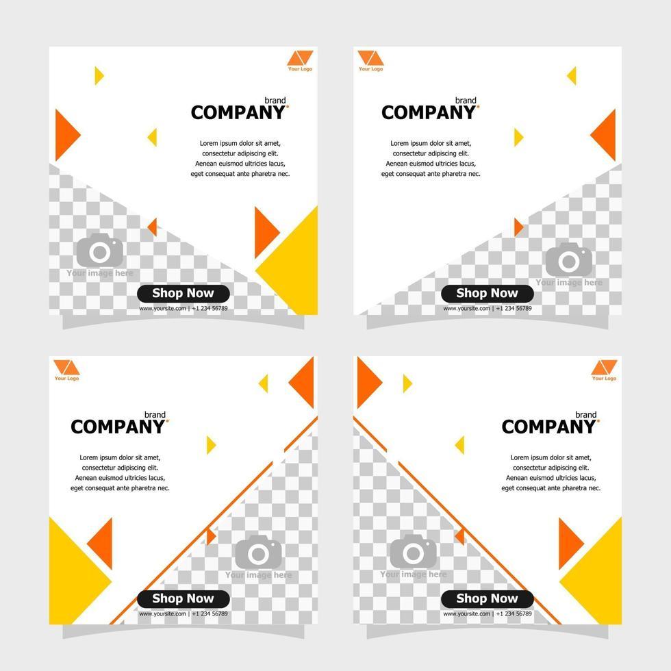Social media post orange colour concept style eight vector