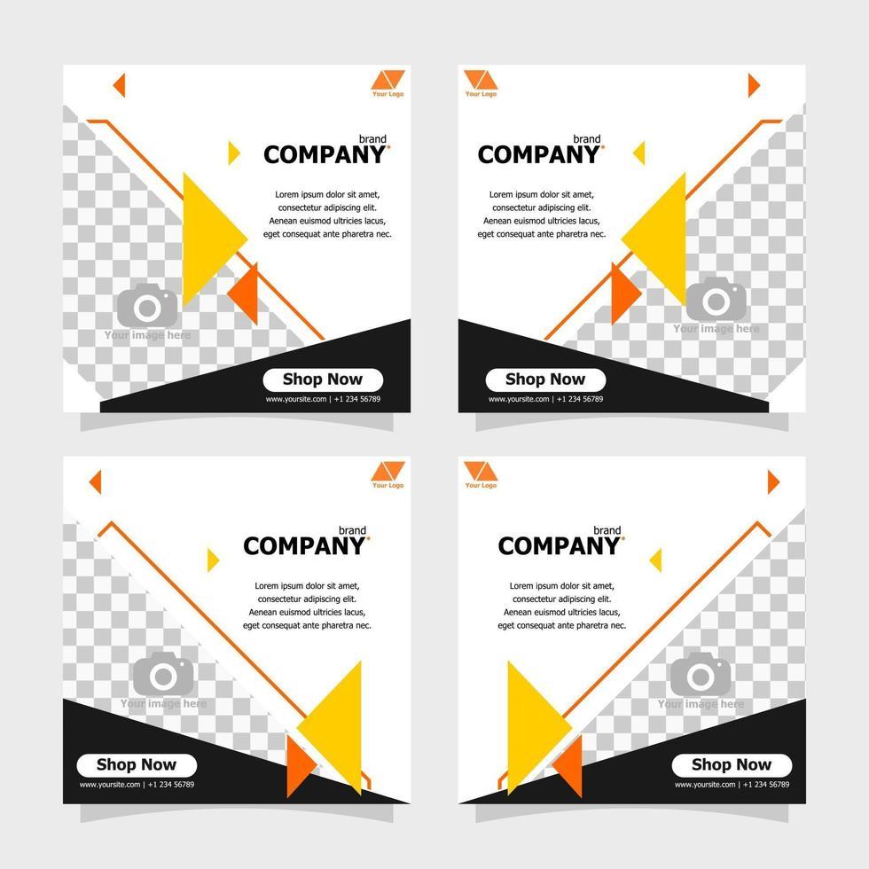 Social media post orange colour concept style ten vector