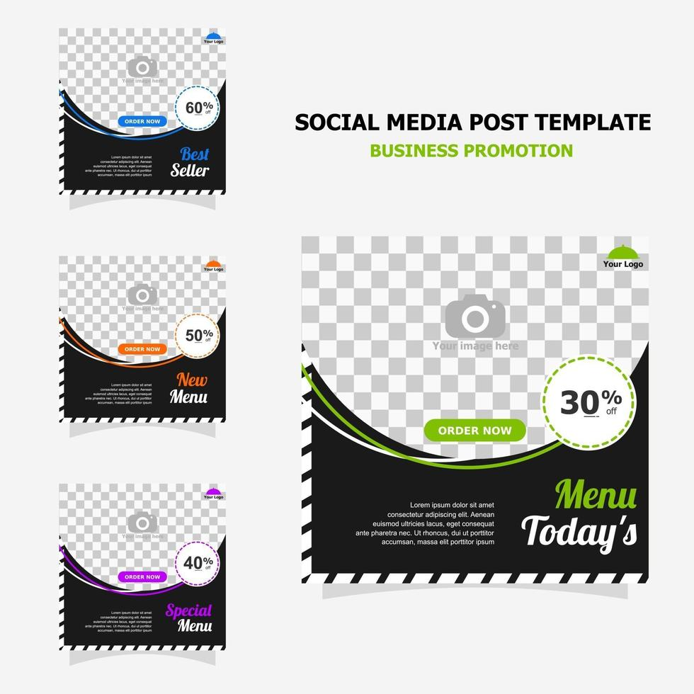 Social media post promotion with dark brown colour style eleven vector