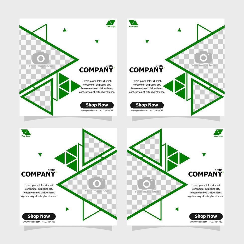 Social media post green colour style five vector