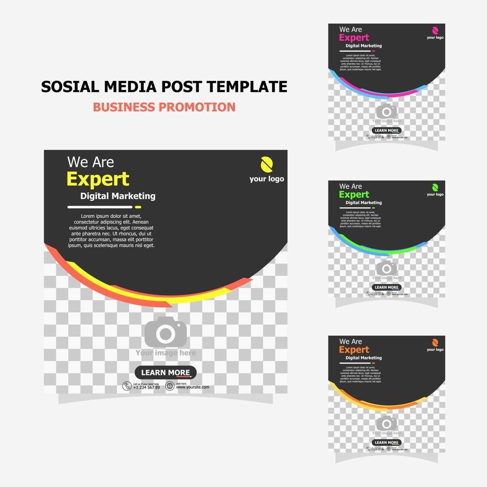 Social media post template set full colour style eight vector