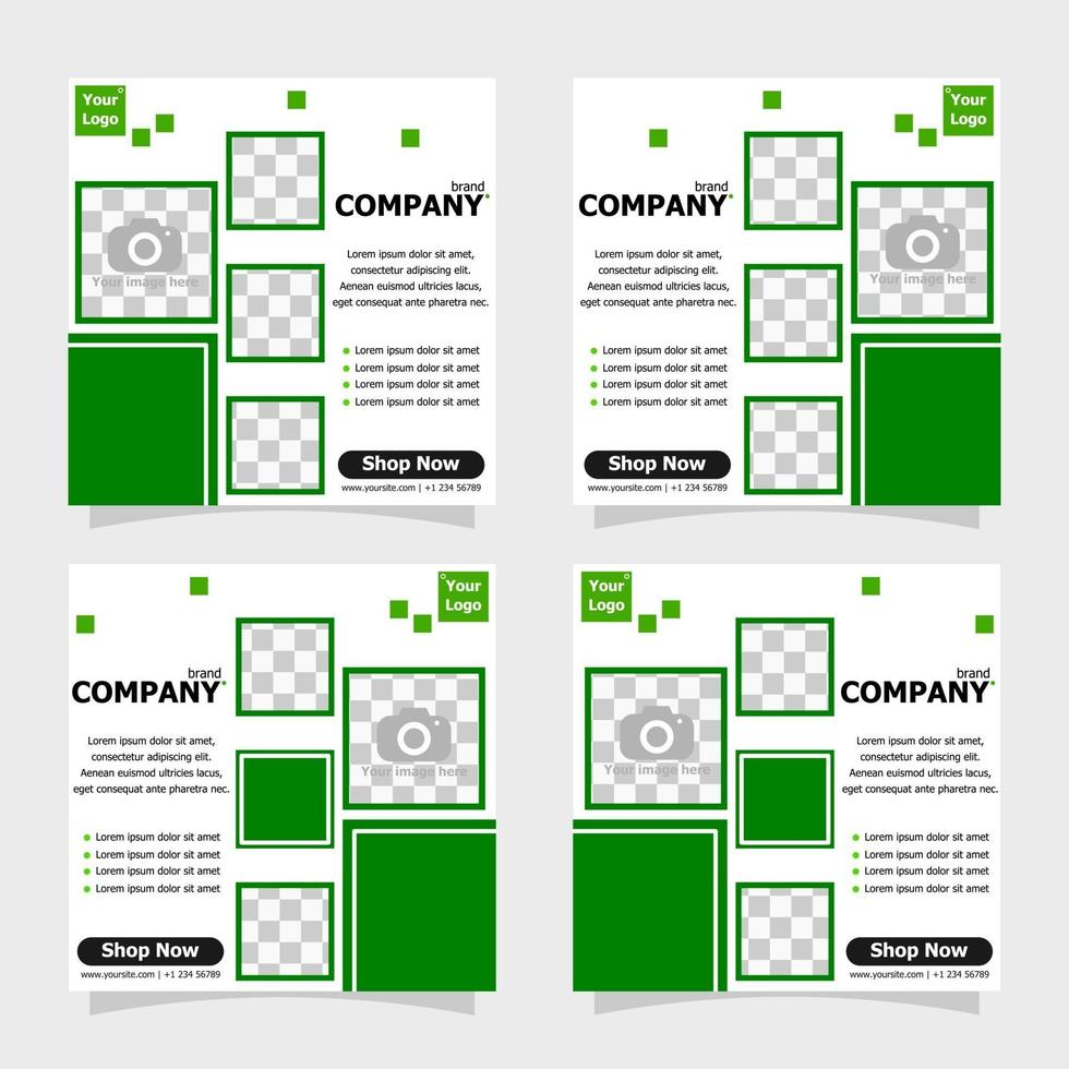 Social media post green colour style two vector