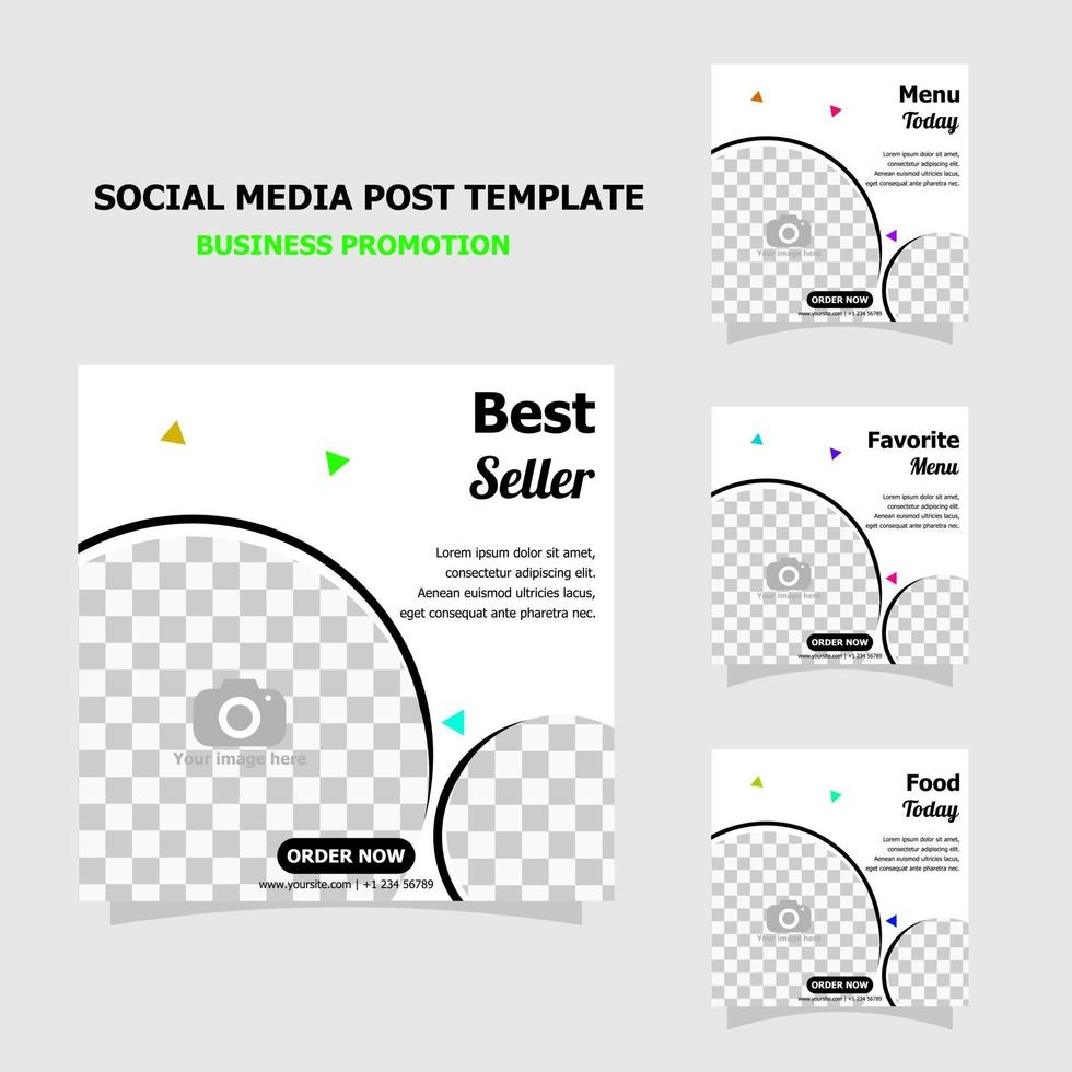 Simple template social media promotion package style four vector
